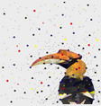 abstract of low poly hornbill bird with point vector image