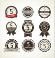 anniversary retro badges 5 years vector image vector image