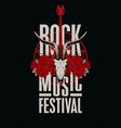 banner for rock music festival with goat skull vector image vector image