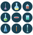 chemical glassware flasksbeakerstubesbottles vector image