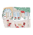 colorful rough drawing of outdoor cafe restaurant vector image vector image