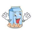 crazy almond milk in the cartoon shape vector image