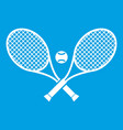 crossed tennis rackets and ball icon white vector image vector image