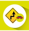 curve road sign sedan red vector image