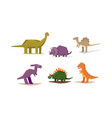 dinosaurs set cute geometric jurassic period vector image