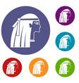 egyptian girl icons set vector image vector image