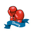emblem boxing game icon vector image