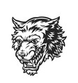 ferocious wolf head monochrome concept vector image