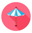 Flat Summer Sun Parasol Circle Icon with Long vector image