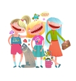Friends girls fashion stylish colorful watercolor vector image