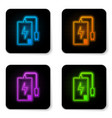 glowing neon power bank with different charge vector image vector image