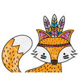 grated cute fox animal with feathers decoration vector image vector image
