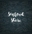 hand drawn seafood elements background with vector image vector image