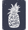 Hand drawn vintage label with pineapple and vector image