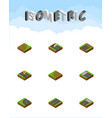 isometric road set of turning unfinished way and vector image vector image