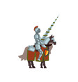 knight on horse with lance in hand brave warrior vector image