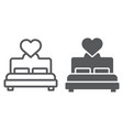 lovers bed line and glyph icon love and sleep vector image vector image