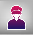 man with sleeping mask sign purple vector image vector image