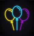 neon balloon sign glowing air balloon symbol vector image