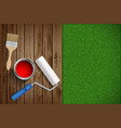 paint roller paint brush on wood vector image