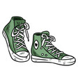 pair of textile hipster sneakers vector image