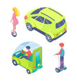 people driving car segway and unicycle vector image