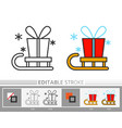present santa gift box delivery on sled line icon vector image vector image