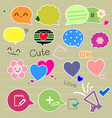 set of cute thought bubbles vector image