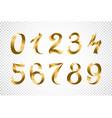 set of festive gold ribbon digits golden vector image vector image