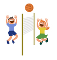 Set of kids playing volleyball vector image vector image