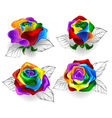 Set of Rainbow Roses vector image vector image