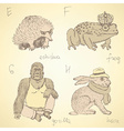 Sketch fancy animals alphabet in vintage style vector image