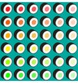 sushi pattern on color background flat style vector image vector image