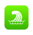 tsunami wave icon digital green vector image