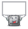up board r button installed on cartoon keyboard vector image vector image