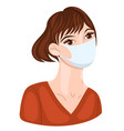 woman in medical mask isolate on a white vector image