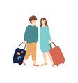 young caucasian and woman travelling vector image vector image