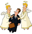 businessman and angels vector image
