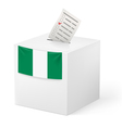 Ballot box with voting paper Nigeria vector image