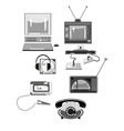 Set of retro devices in shades of gray vector image