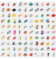 100 girl icons set isometric 3d style vector image vector image