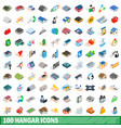 100 hangar icons set isometric 3d style vector image