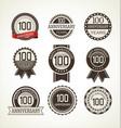 anniversary retro badges 100 years vector image vector image