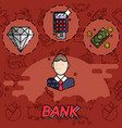 bank flat icons set vector image vector image