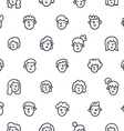 Boys and girls doodle faces seamless pattern vector image