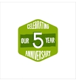 Celebrating 5 year anniversary badge sign and vector image vector image