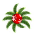 Christmas ball on pine vector image vector image