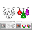 christmas tree ball snowman decoration line icon vector image vector image