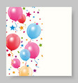 colorful birthday balloon with confetti vector image vector image