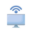 computer monitor with wifi signal vector image vector image